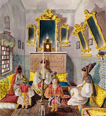 Algerian Interior, c.1835 Postcards, Greetings Cards, Art Prints, Canvas, Framed Pictures, T-shirts & Wall Art by Theodore Leblanc