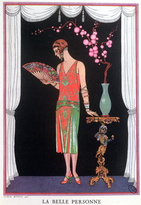 Worth evening dress, fashion plate from Gazette du Bon Ton, 1925 Fine Art Print by Georges Barbier