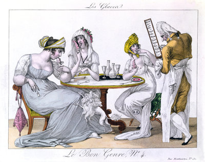 The Ice Cream, plat 4 from 'Le Bon Genre', Paris, 1827 Fine Art Print by French School