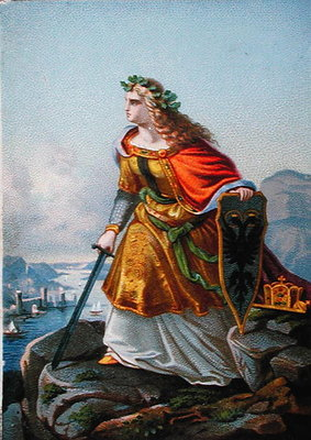 Postcard depicting Germania and the Rhine, c.1860 Wall Art & Canvas Prints by German School
