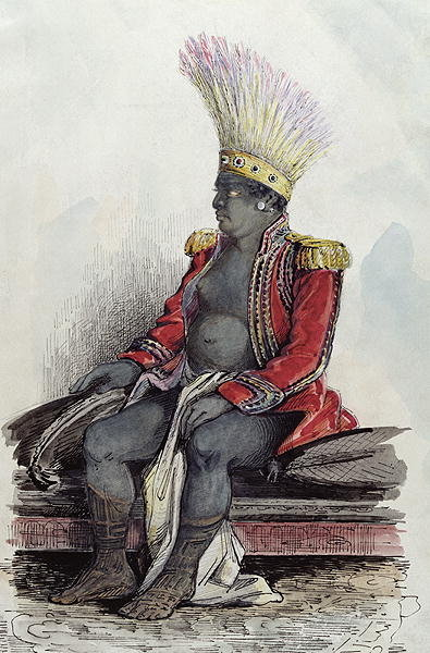 King Temoana on the island of Nuka-Hiva dressed in the uniform of a French colonel, c.1841-48 Fine Art Print by Maximilien Radiguet