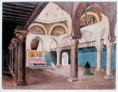 Interior of a Mosque Converted into a Bishop's Palace, Algiers, c.1835 Postcards, Greetings Cards, Art Prints, Canvas, Framed Pictures, T-shirts & Wall Art by Theodore Leblanc