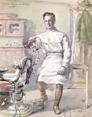 Military Dentist at the American Hospital of St. Nazaire, 1918 Postcards, Greetings Cards, Art Prints, Canvas, Framed Pictures, T-shirts & Wall Art by Georges Eveillard