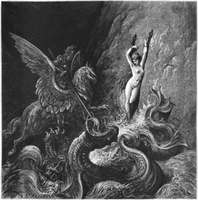Ruggiero rescuing Angelica, illustration from Canto X of 'Orlando Furioso' by Ludovico Ariosto Fine Art Print by Gustave Dore