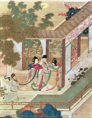A romantic meeting, illustration from a traditional Chinese novel Fine Art Print by Chinese School