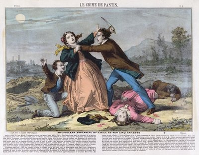 Troppmann murders Mme Kinck and her 5 children, c.1869 Wall Art & Canvas Prints by French School