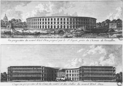 Project for the transfer of a new Hotel-Dieu on the Ile aux Cygnes, Paris, c.1787 Wall Art & Canvas Prints by Bernard Poyet