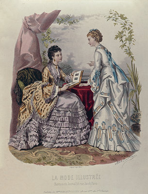 Fashion plate showing ladies in dresses designed by Mme Breant-Castel and looking at photo albums, 1872 Fine Art Print by French School