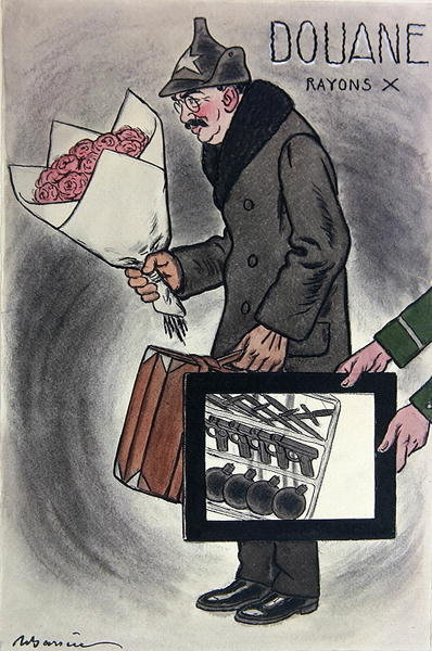 Cartoon of the Soviet Ambassador to France, Valerian Devgalevsky, from the French journal 'Fantasio', c. 1924 Fine Art Print by Adrien Barrere