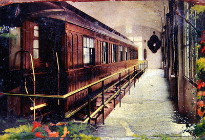 Postcard depicting the railway carriage where the Signing of the Armistice took place at Rethondes in the Forest of Compiegne on 11th November 1918 at 5 a.m., 1918 Poster Art Print by French School