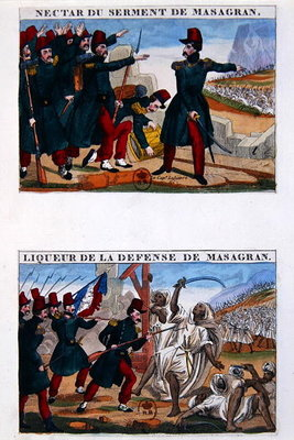 Liqueur bottle labels depicting the Battle of Masagran Fine Art Print by French School