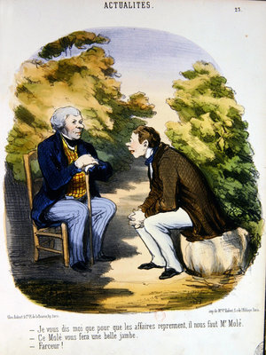 Two men discussing politics and the usefulness of the Comte de Mole Fine Art Print by Honore Daumier