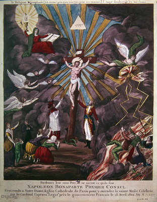 Allegory of the re-establishment of the Catholic religion in France in 1802 under Napoleon Bonaparte as First Consul, 1802 Fine Art Print by French School