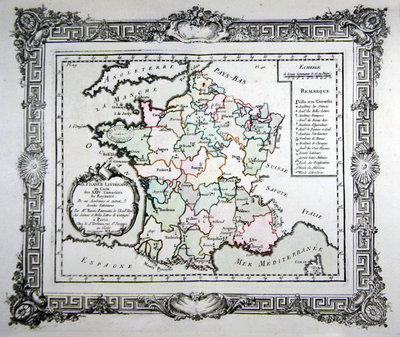 Map of the 24 French Universities, the Academies and other Literary Societies in France, 1766 Fine Art Print by French School