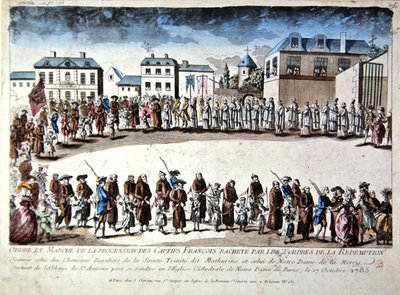 Procession in Paris of French prisoners released from captivity in Algeria by payment of ransom, 1785 Fine Art Print by French School