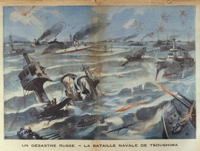 Russian naval disaster during the battle of Tsushima in 1905, illustration from 'Le Petit Parisien', 2 July, 1906 Postcards, Greetings Cards, Art Prints, Canvas, Framed Pictures, T-shirts & Wall Art by French School