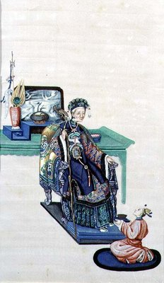 Old Woman Seated with a Kneeling Servant Fine Art Print by Chinese School