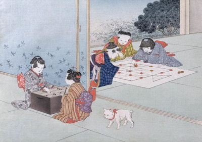 Backgammon and Musashi from the series 'Children's Games', 1888 Fine Art Print by Kobayashi Eitaku