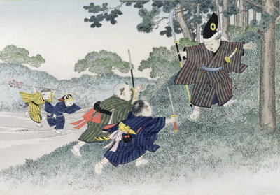 Playing at Warriors from the series 'Children's Games', 1888 Fine Art Print by Kobayashi Eitaku