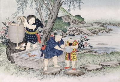 Goldfish from the series 'Children's Games', 1888 Fine Art Print by Kobayashi Eitaku