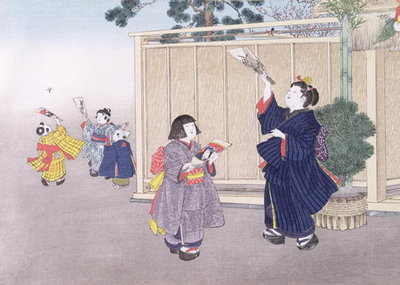 Shuttlecock and Battledore from the series 'Children's Games', 1888 Fine Art Print by Kobayashi Eitaku