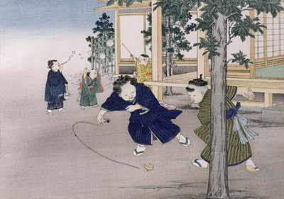 Spinning top and blowing bubbles from the series 'Children's Games', 1888 Fine Art Print by Kobayashi Eitaku