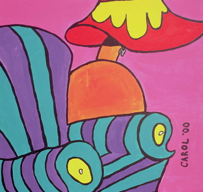 Cartoon Chair with Lamp, 2000 Wall Art & Canvas Prints by Carol Tatham Smith