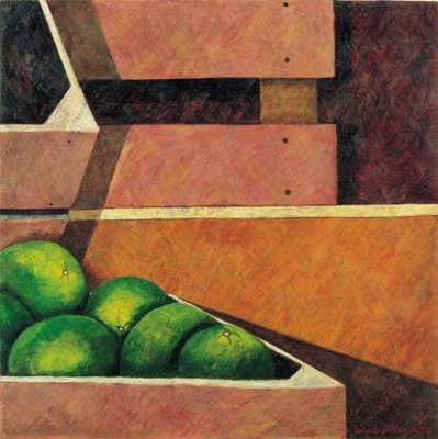 Crates with Green Oranges, 1999 Fine Art Print by Pedro Diego Alvarado
