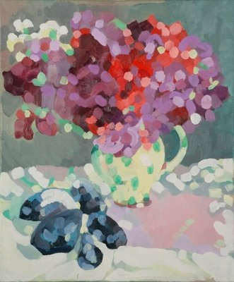 Sweet Peas and Seashells, 2006 (oil on canvas) Fine Art Print by Deborah Barton