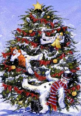 Snowmen in a Christmas Tree, 1999 Fine Art Print by David Cooke