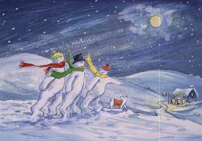 Snowmen on their way to the Pub Wall Art & Canvas Prints by David Cooke