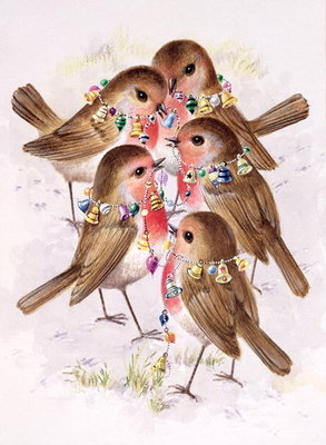 Christmas Robins (w/c on paper) Postcards, Greetings Cards, Art Prints, Canvas, Framed Pictures & Wall Art by Stanley Cooke