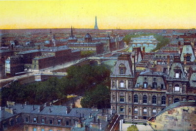 Panorama of the eight bridges, from 'Souvenirs De Paris - Monuments Vues en Couleurs' Fine Art Print by French School