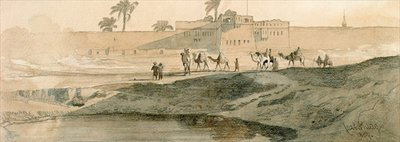 Outside Bab il Cadit, Cairo, 1859 Fine Art Print by Carl Haag