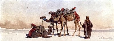 Resting with Three Camels in the Desert, 1859 Wall Art & Canvas Prints by Carl Haag