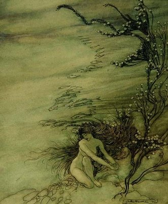 Rhine Maiden Lamenting, 1910 Wall Art & Canvas Prints by Arthur Rackham