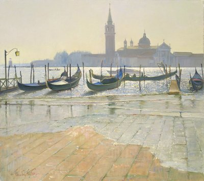Venice at Dawn (oil on canvas) Postcards, Greetings Cards, Art Prints, Canvas, Framed Pictures, T-shirts & Wall Art by Timothy Easton