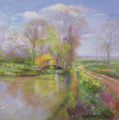 Spring Bridge, 1992 Poster Art Print by Timothy Easton