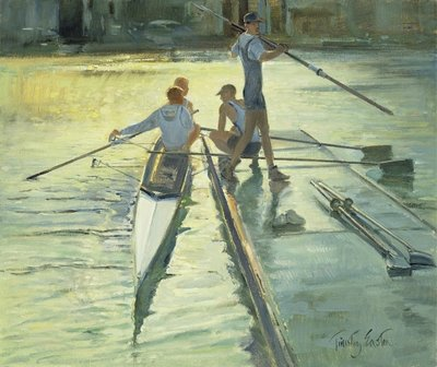 Sunset Raft (oil on canvas) Wall Art & Canvas Prints by Timothy Easton