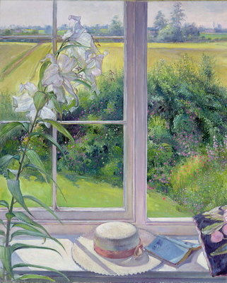 Window Seat and Lily, 1991 Fine Art Print by Timothy Easton