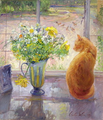 Striped Jug with Spring Flowers, 1992 Fine Art Print by Timothy Easton
