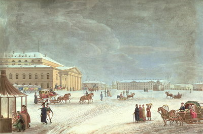 View of the Square and the Grand Theatre, St Petersburg Fine Art Print by French School