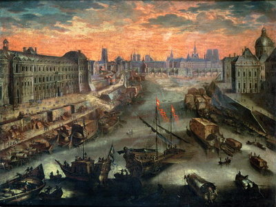 View of Paris from the Pont Royal Fine Art Print by Franco-Flemish School