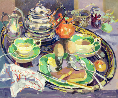 The Breakfast Tray (oil on canvas) Wall Art & Canvas Prints by Elizabeth Jane Lloyd