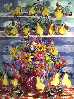 Bounty of Quinces (w/c on paper) Wall Art & Canvas Prints by Elizabeth Jane Lloyd