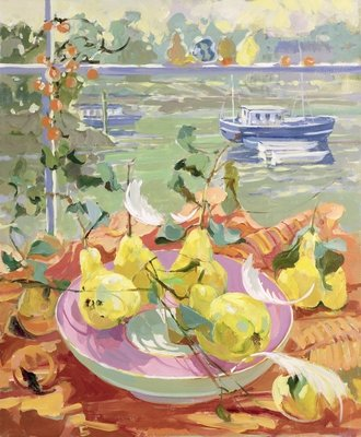 Pink Plate of Pears Fine Art Print by Elizabeth Jane Lloyd