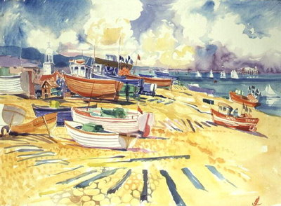 Fishing Boat Beach Fine Art Print by Elizabeth Jane Lloyd