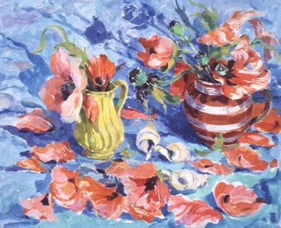 Poppies in a Red-Striped Jug Fine Art Print by Elizabeth Jane Lloyd