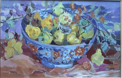Quinces in a Delft Bowl Fine Art Print by Elizabeth Jane Lloyd