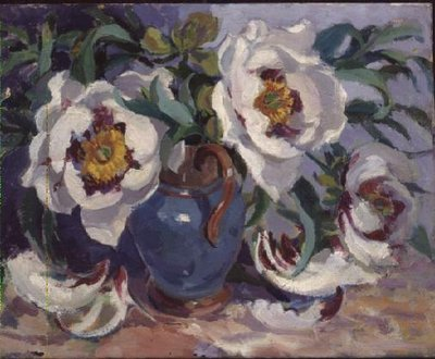 White Peonies in a Blue Jug (w/c) Wall Art & Canvas Prints by Elizabeth Jane Lloyd